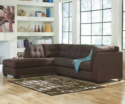 Ashley Maier 2pc Walnut Left Arm Facing Chaise Sectional Available Online in Dallas Fort Worth Texas