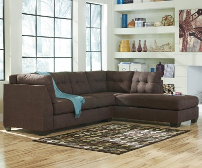 Ashley Maier 2pc Walnut Right Arm Facing Chaise Sectional Available Online in Dallas Fort Worth Texas
