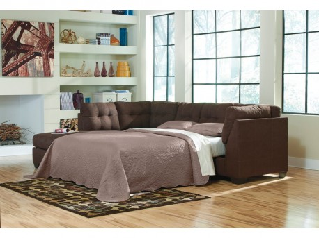 Ashley Maier 2pc Walnut Right Arm Facing Sleeper Sofa Sectional Available Online in Dallas Fort Worth Texas