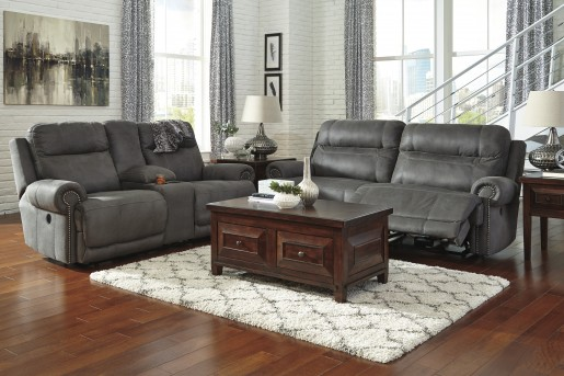 Ashley Austere 2pc Grey Power Sofa & Loveseat Set Available Online in Dallas Fort Worth Texas