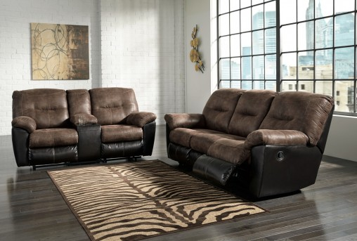 Ashley Follett Coffee 2pc Sofa & Loveseat Set Available Online in Dallas Fort Worth Texas