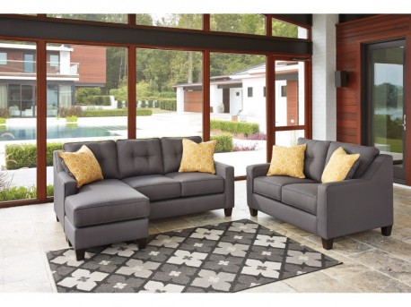 Ashley Aldie Nuvella Gray 2pc Sofa Chaise & Loveseat Set Available Online in Dallas Fort Worth Texas