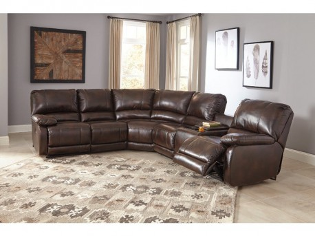 Ashley Hallettsville 4pc Saddle Right Arm Facing Power Console Loveseat Sectional Available Online in Dallas Fort Worth Texas