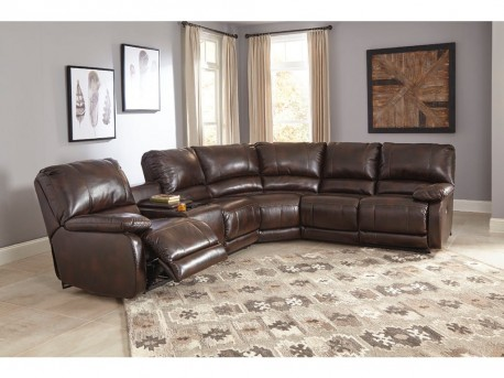 Ashley Hallettsville 4pc Saddle Left Arm Facing Power Console Loveseat Sectional Available Online in Dallas Fort Worth Texas