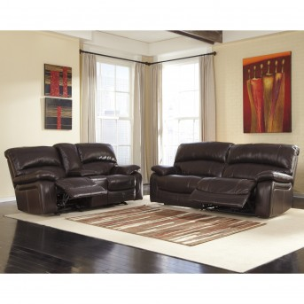 Ashley Damacio 2pc Dark Brown Reclining Power Sofa & Loveseat Set Available Online in Dallas Fort Worth Texas
