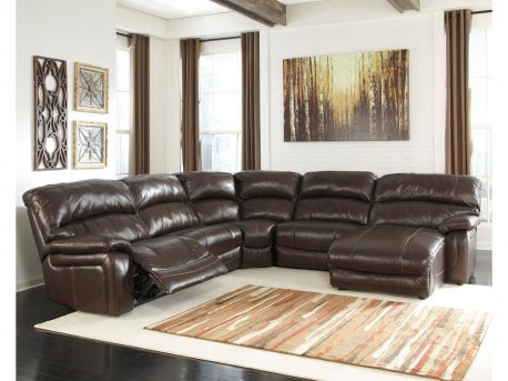 Ashley Damacio 5pc Dark Brown Right Arm Facing Power Chaise Sectional Available Online in Dallas Fort Worth Texas