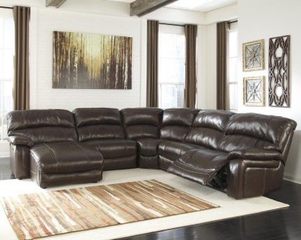 Ashley Damacio 5pc Dark Brown Left Arm Facing Power Chaise Sectional Available Online in Dallas Fort Worth Texas