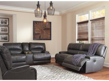 Ashley McCaskill 2pc Grey Power Reclining Sofa & Loveseat Set Available Online in Dallas Fort Worth Texas