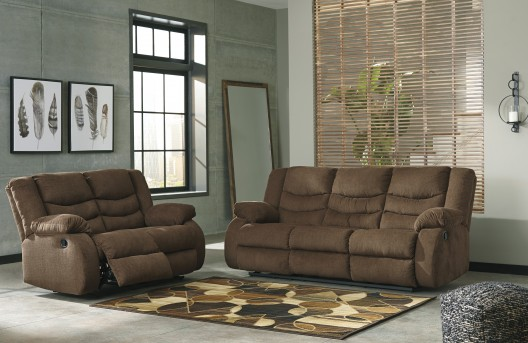 Ashley Tulen 2pc Chocolate Reclining Sofa & Loveseat Set Available Online in Dallas Fort Worth Texas