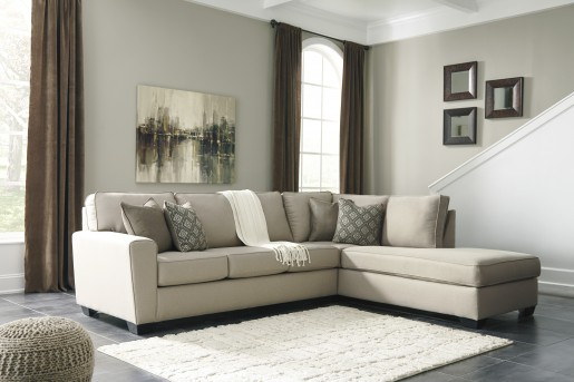 Ashley Calicho 2pc Ecru Right Arm Facing Chaise Sectional Available Online in Dallas Fort Worth Texas