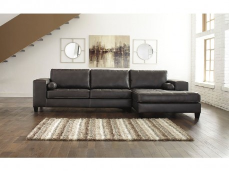Ashley Nokomis 2pc Charcoal Right Arm Facing Chaise Sectional Available Online in Dallas Fort Worth Texas