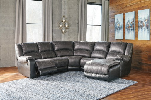 Ashley Nantahala 5pc Slate Right Arm Facing Corner Chaise Sectional Available Online in Dallas Fort Worth Texas