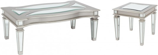 Ashley Tessani 3pc Silver Coffee Table Set Available Online in Dallas Fort Worth Texas