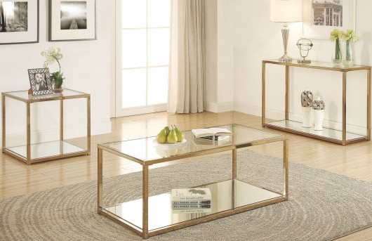 Coaster Calantha 3pc Chocolate Chrome Coffee Table Set Available In Dallas Fort Worth Texas