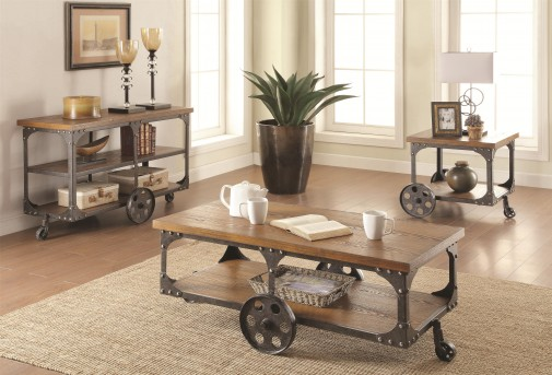 Coaster Damaan 3pc Brown Coffee Table Set Available Online in Dallas Fort Worth Texas