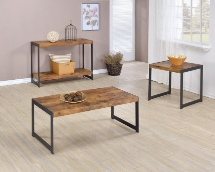 Coaster Tarrak 3pc Antique Nutmeg Coffee Table Set Available Online in Dallas Fort Worth Texas