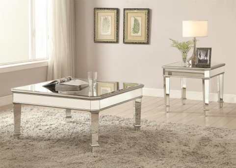 Coaster Saint 3pc Silver Mirror Panel Coffee Table Set Available Online in Dallas Fort Worth Texas & Coaster Saint 3pc Silver Mirror Panel Coffee Table Set Dallas TX ...