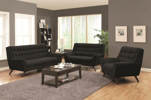Coaster Natalia 2pc Black Sofa and Loveseat Set Available Online in Dallas Fort Worth Texas