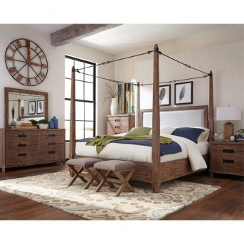 Coaster Madeleine 5pc Smoky Acacia Cal King Canopy Bedroom Group Available Online in Dallas Fort Worth Texas
