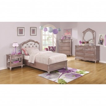 Coaster Caroline 5pc Metallic Lilac Full Platform Bedroom Group Available Online in Dallas Fort Worth Texas