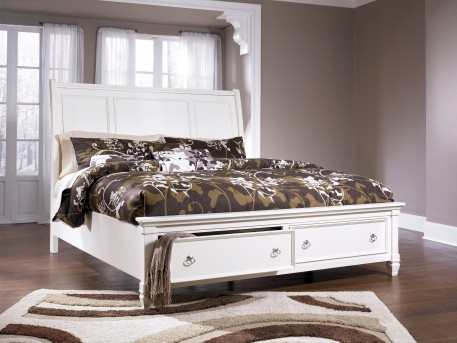 Ashley Prentice White Queen Sleigh Bed Available Online in Dallas Fort Worth Texas