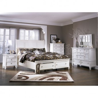 Ashley Prentice 5pc White King / Cal King Storage Bedroom Group Available Online in Dallas Fort Worth Texas