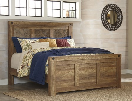 Ashley Ladimier Medium Brown Queen Mansion Bed Available Online in Dallas Fort Worth Texas