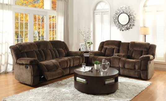 Homelegance Laurelton 2pc Chocolate Double Reclining Sofa & Loveseat Set Available Online in Dallas Fort Worth Texas