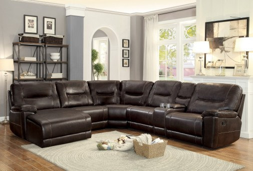 Homelegance Columbus 6pc Dark Brown Left Arm Facing Recliner Chaise Sectional Available Online in Dallas Fort Worth Texas