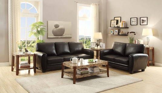 Homelegance Rubin 2pc Black Sofa & Loveseat Set Available Online in Dallas Fort Worth Texas