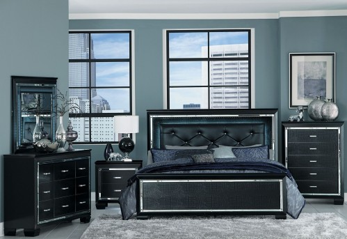 Homelegance Allura 5pc Black Queen Upholstered Panel Bedroom Group Available Online in Dallas Fort Worth Texas