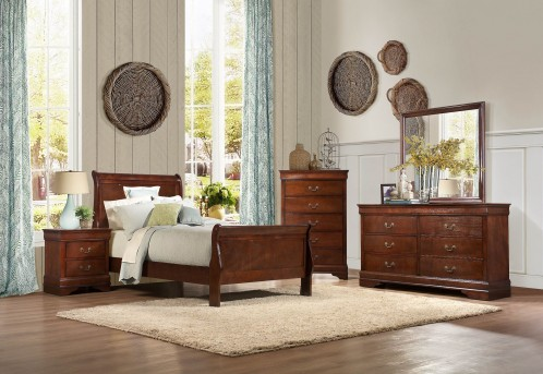 Homelegance Mayville 5pc Brown Cherry Twin Sleigh Bedroom Group Available Online in Dallas Fort Worth Texas