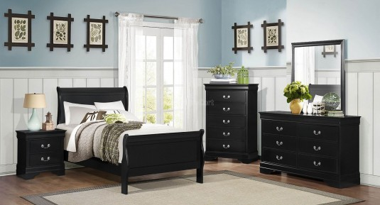 Homelegance Mayville 5pc Black Twin Sleigh Bedroom Group Available Online in Dallas Fort Worth Texas