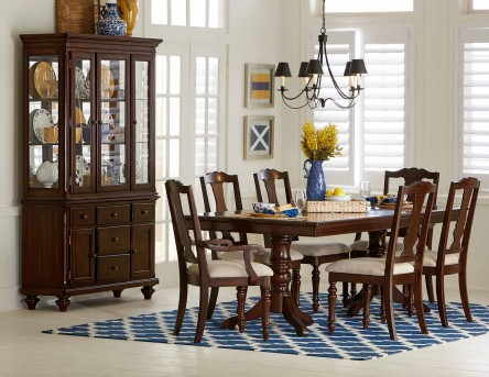Homelegance Glendive 7pc Brown Cherry Dining Table Set