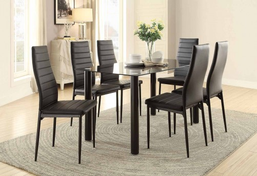 Florian 7pc Black Dining Table Set Available Online in Dallas Fort Worth Texas