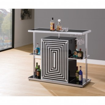 Coaster Rec Room Chrome and Black Bar Unit Available Online in Dallas Fort Worth Texas