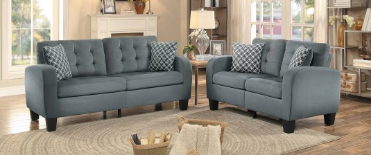 Sinclair 2pc Grey Sofa & Loveseat Set Available Online in Dallas Fort Worth Texas