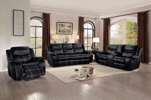 Homelegance Bastrop 2pc Black Double Reclining Sofa & Love Seat Set Available Online in Dallas Fort Worth Texas