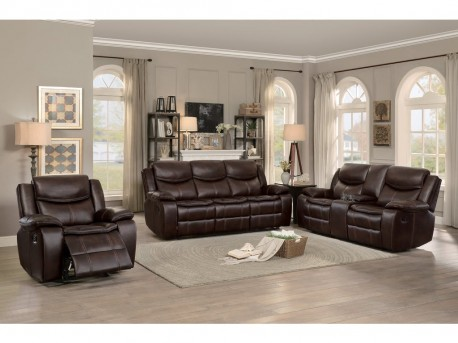 Homelegance Bastrop 2pc Dark Brown Double Reclining Sofa & Love Seat Set Available Online in Dallas Fort Worth Texas