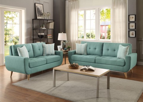 Deryn 2pc Teal Sofa & Loveseat Set Available Online in Dallas Fort Worth Texas