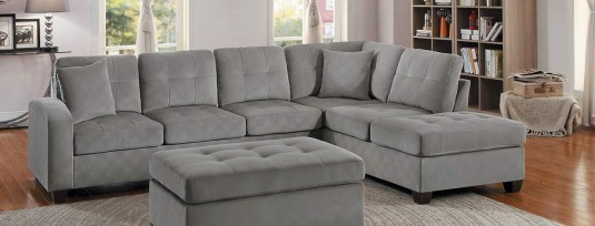 Emilio 2pc Taupe Reversible Sectional Set Available Online in Dallas Fort Worth Texas
