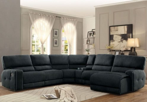 Homelegance Keamey 6pc Dark Grey Right Arm Facing Chaise Sectional Available Online in Dallas Fort Worth Texas