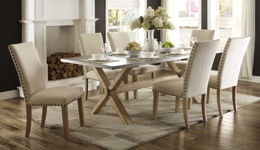 Homelegance Luella 7pc Weathered Oak Dining Table Set Available Online in Dallas Fort Worth Texas