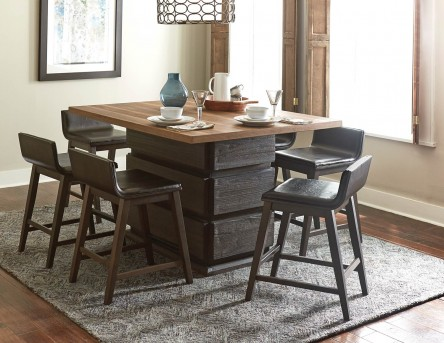 Homelegance Rochelle 7pc Dark Brown Counter Height Dining Room Set Available Online in Dallas Fort Worth Texas