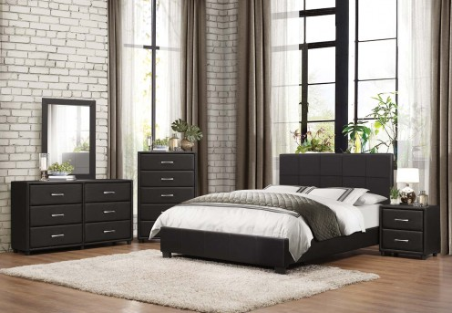 Homelegance Lorenzi 5pc Black Queen Platform Bedroom Group Available Online in Dallas Fort Worth Texas