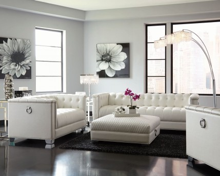 Coaster Chaviano 2pc Low Profile Pearl White Tufted Sofa & Loveseat Set Available Online in Dallas Fort Worth Texas
