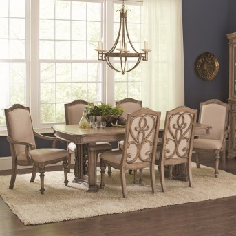 Coaster Ilana 7pc Antique Linen Rectangular Dining Table Set Available Online in Dallas Fort Worth Texas