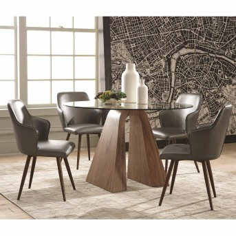 Coaster Abbott 5pc Walnut Round Dining Table Set Available Online in Dallas Fort Worth Texas