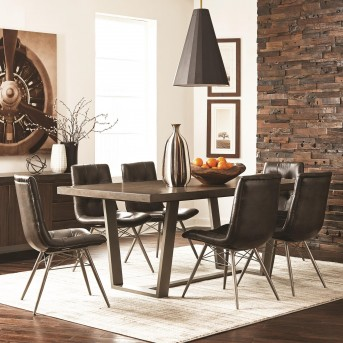 Coaster Hutchinson 7pc Aged Concrete Dining Table Set Available Online in Dallas Fort Worth Texas