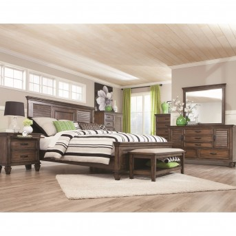 Coaster Franco 5pc Burnished Oak Queen Panel Bedroom Group Available Online in Dallas Fort Worth Texas